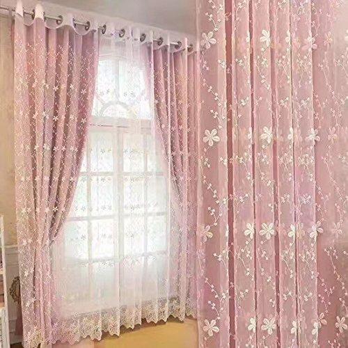 Tende finestra oscuranti con tulle tenda ricama a doppia per soggiorno, camera da letto (un insieme: tende + tulle, 213cmx132cm)