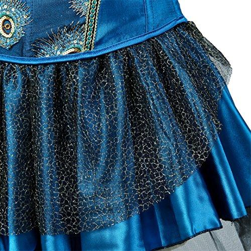 Kranchungel Women's Burlesque Peacock Feather Satin Corset with Skirt Fancy Dress Clubwear Corsetto Bustino Blu