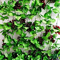 Meiliy 41Ft Artificial Greenery Chain Grape Ivy Leaves + Artificial Grapes Vine Foliage Simulation Flowers Plants for Home Room Garden Wedding Garland Outside Decoration,Pack of 5
