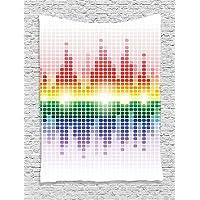 XHFITCLtd Music Decor Tapestry, Rainbow like Digital Equalizer Amplifier Recording Equipment Club, Bedroom Living Room Dorm Decor, 40 W x 60 L Inches, Multicolor