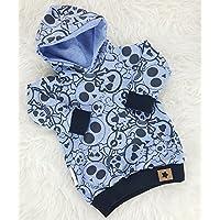Baby Hoodie Kapuzenpullover blau cool Skulls Totenkopf