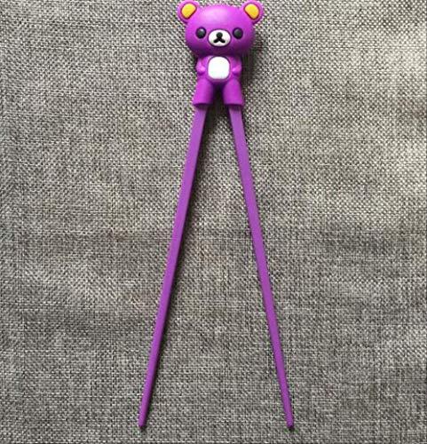 Csok - bacchette cinesi a forma di orsacchiotto, panda, gatto, minion, per imparare a imparare i bambini, colore: viola