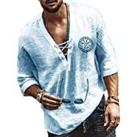 keepmore T-Shirt da Uomo con Scollo a V e Polsini in Pizzo con Collo a V, Camicia Stile Etnico retrò
