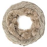 MANUMAR Loop-Schal für Damen | Hals-Tuch in braun mit flauschigem Teddy Fell und Strick als perfektes Herbst/Winter-Accessoire | Schlauchschal | Damen-Schal | Rundschal | Geschenkidee für Frauen