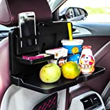 Oshotto Car Backseat Food Travel Dining Meal & Snaks Tray & Cup Holder for All Cars (Black) - 1 Piece