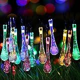 Tophie LED Luces de Hadas Impermeable Gota de Agua Luces Interior Exterior al Aire Libre Alambre de Cobre Luces Accionado Solar Decoración para Navidad, Jardín, Patio, Boda, Fiesta - Colorido