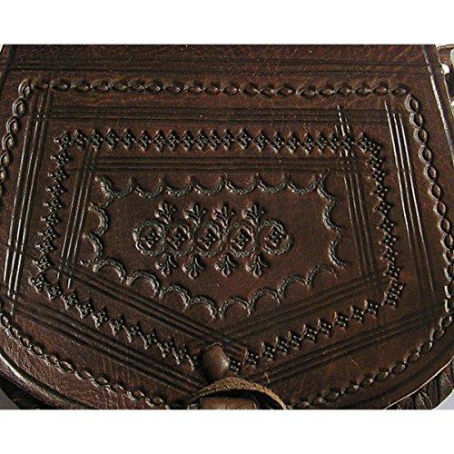 Ledertasche Handtasche Umhängetasche Schultertasche Aktentasche Tragetasche Leder Tasche Mittelalter Oval (dunkelbraun) - 4