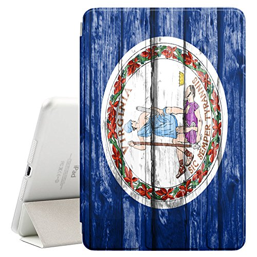 FJCases Virginia The Old Dominion State Holzmuster Flagge Smart Cover Tablet-Schutzhülle Hülle Tasche + Auto aufwachen/Schlaf Funktion für Apple iPad Mini 5 Old Virginia Mini