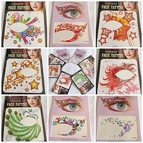 5 x Pairs of Different Colourful Adult eyerock eye shadow Fashionable Fun Temporary Eye Tattoo Makeup Butterfly, Wings, Star, flame, peacock, one size fits all! Fancy dress costume by ()