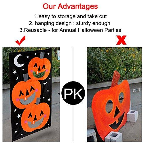 AerWo Halloween Kürbis Spiel Hängende Art Kürbis Bohnenbeutel Toss Spiel + 3 Bohnenbeutel, Halloween Party Cornhole Party Spiele für Kinder und Erwachsene 76X138cm - 4