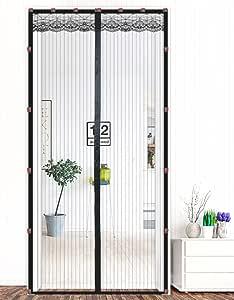 Klettband version Liveinu Fliegengitter T/ür Insektenschutz Magnet Fliegen Gitter Vorhang Fliegenvorhang f/ür Balkont/ür Wohnzimmer Klettband Fassung Braun 90x240cm
