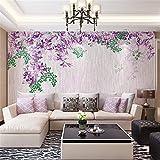 WORINA HD Wandbild Wohnzimmer-Sofa-Fernsehhintergrund-Wand-Malerei 3D Vlies-Nahtlose Wand-Tuch-Einfache Glyzinie-Blumen-Malerei, 200X140 Cm (78.7 By 55.1 In)