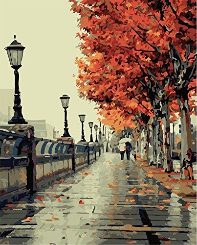 YEESAM ART Neuerscheinungen Malen nach Zahlen für Erwachsene Kinder - Romantische Liebe Liebhaber Straßenansicht Paar 16 * 20 Zoll Leinen Segeltuch (Mit Rahmen, #1)