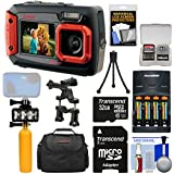 Coleman Duo 2V9WP Dual Screen Shock & Waterproof Digital Camera (Red) With 32GB Card + Batteries & Charger + Diving LED Video Light + Buoy + Case Kit