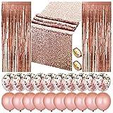 مجموعة زينة للحفلات بلون ذهبي وردي تتضمن قطعتين ستائر شراشيب لامعة للباب مقاس 3×8 قدم ومفرش طاولة من الترتر مقاس 12×108 إنش و