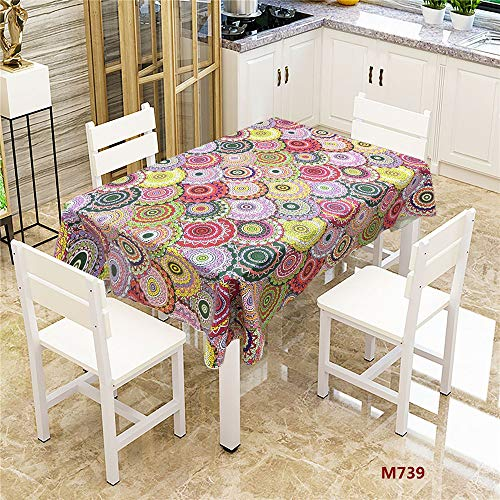 QWEASDZX Tischdecke Moderne Mode Polyestergewebe Ölbeständige und wasserbeständige Mandalas Digitaldruck Tischdecken rechteckiger Tisch Geeignet für Innen und Außen 140x200cm