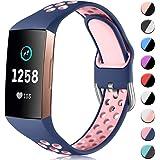 CeMiKa Siliconen Bandje Compatibel met Fitbit Charge 4/Fitbit Charge 3 Bandje, Ademende Vervangende Sportarmband voor Charge