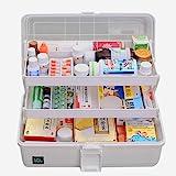 Likeluk Medicijnkastje van kunststof, 3 niveaus, transparante EHBO-box, multifunctionele sorteerdoos met handvat, 33 × 18 × 1