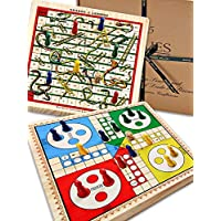 Jaques of London Snakes and Ladders Board Games & Ludo on a Beautiful Solid Wooden Reversible Board - Complete with Wooden Playing Pieces - Board Games Since 1795