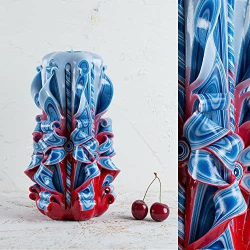 Candele Intagliate Piccole Grandi Azzurre Un Regalo Speciale per il Natale e per Rendere Casa più Accogliente - Fatti a Mano da EveCandles
