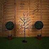 MiniSun – Decorativa lámpara de pie con 60 luces LED de estilo árbol bonsái 'Cherry Blossom' para interior y exterior