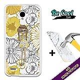 Becool® Fun- Funda Gel Flexible para Vodafone Smart Prime 6 [ +1 Protector Cristal Vidrio Templado ]Carcasa TPU fabricada con la mejor Silicona, protege y se adapta a la perfección a tu Smartphone y con nuestro exclusivo diseño Muñeca con flores amarillas
