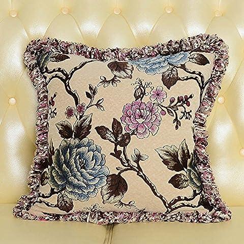 MeMoreCool lusso classico divano Cuscino Cover, Exquisite Jacquard Throw Pillow Cover con frange/Edge Tortiglione Decor, elegante federa, Cotone, beige1, 22 inch by 22 inch