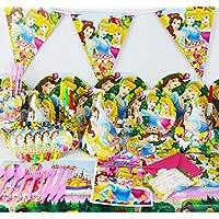 Disney Princesa Cenicienta BELLE–Bella Durmiente Kids Party Supplies completo Set Platos, Servilletas, vasos, bolsas de fiesta y más para 6personas