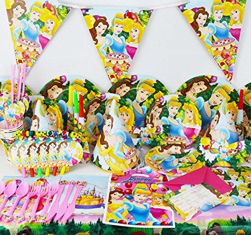 Disney Prinzessin Cinderella Belle Sleeping Beauty Kids Party Supplies komplett-Set Teller Servietten Becher Party Taschen und mehr für 6Gäste