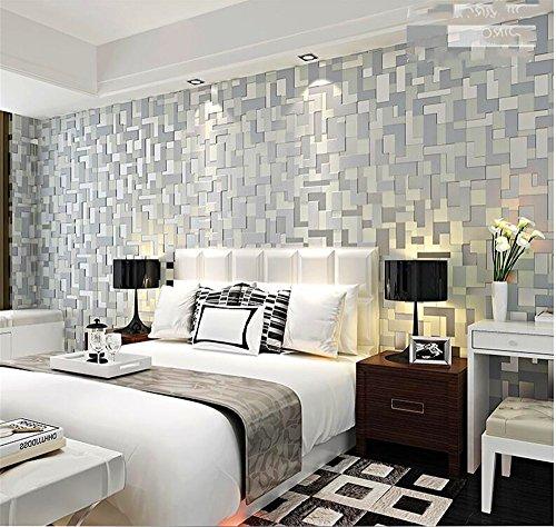 QXLML Papel pintado moderno simple 3D estéreo mosaico de relieve no tejido de papel pintado dormitorio sala de TV fondo de pantalla 10 * 0.53 (M) ( Color : Fashion gray )