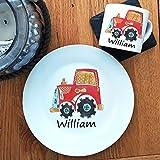 Baby-Geschirr-Set, Geschirr-Set für Kinder, personalisierbar, Traktor, Keramik-Tassen