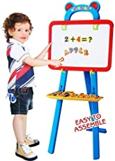 3 In 1 Educational Magnetic White Chalk Board Learning Easel For Kids 84 Pcs