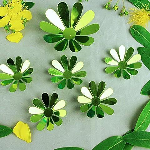 12 pcs/set 3D Effet de miroir mural Petit Art Daisy Kid amovible Prix DIY Art Papier peint mural autocollants autocollants 5C,green