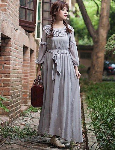 PU&PU Robe Aux femmes Swing Vintage / Décontracté , Couleur Pleine Col Arrondi Maxi Lin / Mousseline de soie light gray-xl