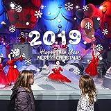 Berrose 2019 Feiertagsdekoration Wandaufkleber Frohes JahrRemovable Home Removable Wall Decal Wandtattoo Wandtattoo Christbaumschmuck Hintergrund -Wohnzimmer Verzierungs-Wand-Glasfenster