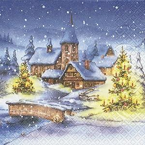 20 Servietten Christmas Village – Weihnachtsdorf im Winter/Weihnachten / Landschaft/Winterlandschaft 33x33cm