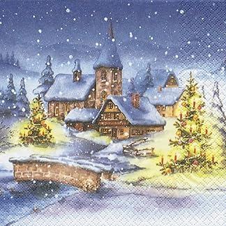 20 servilletas de papel de navidad Village – árbol de Navidad/Navidad/diseño de pueblo en invierno en el diseño de paisaje/de paisaje de invierno 33 x 33 cm