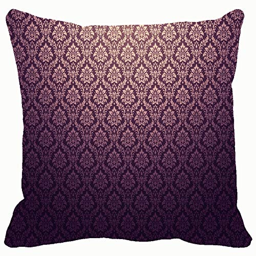 Brown Faux Textur Wallpaper (Home Fashion Pillowcase Purple Damask golden floral Patterns Backgrounds Textures Wallpaper Backgrounds Textures Vintage Wallpaper Vintage 18x18 IN)