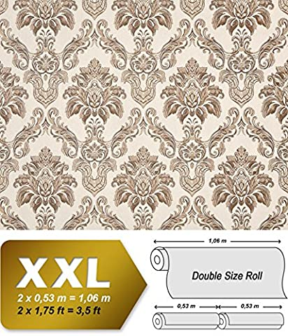 Barock Tapete XXL Vliestapete 3D EDEM 655-93 Damast Muster Textil-Optik Barocktapete creme beige braun 10,65 m2