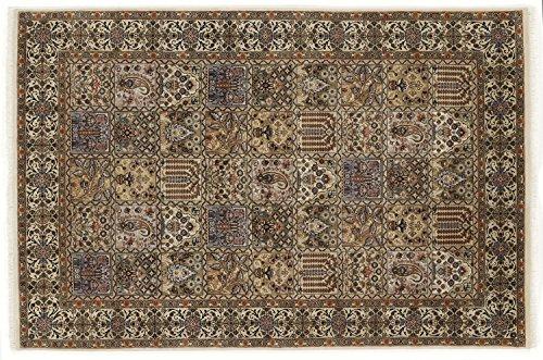 ROSHAN GHOM echter klassischer Orient-Felder-Teppich handgeknüpft in creme-creme, Größe: 80x300 cm
