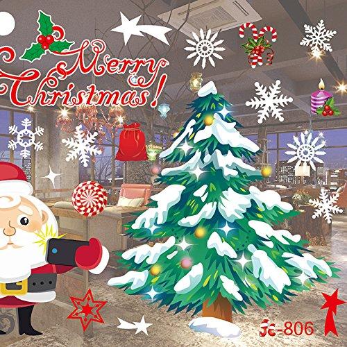 Decorazioni natalizie - Adesivi smontabili della parete - Per finestra di negozio Home Classroom Natale Neve Babbo Natale Showcase Conserva l'autoadesivo della parete di vetro di nuovo anno (55 * 38cm) , style 3