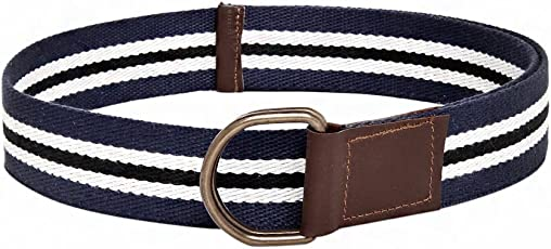 """Frow 38mm width Multi colour Cotton Belt with 2 Antique Rust free""""D"""" Rings. 32 Inch CB103"""