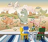selbstklebende Fototapete - Kinderbild - Dinosaurierjungen - Vintage - 300x200 cm - Tapete mit Kleber – Wandtapete – Poster – Dekoration – Wandbild – Wandposter – Wand – Fotofolie – Bild – Wandbilder - Wanddeko