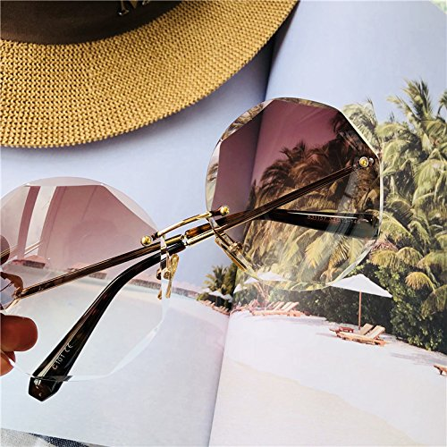 Sunyan Net Red Star, Polygon Sonnenbrille, Frau Gläser, Europäischen, Amerikanischen, Rahmenlose Sonnenbrille, schrittweise Änderung der flachen Koffein