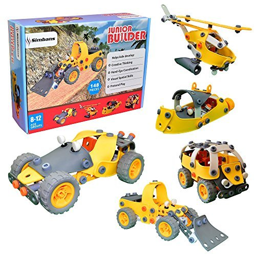[Bolsa Bonificación] Simbans JB 148 Pcs DIY Juguete de Construcción Flexible Ingeniería para Niños, Construir, Imaginación Apilable Educación Puzzle Kit Modelo | Regalo de Navidad para Niño, Niñas
