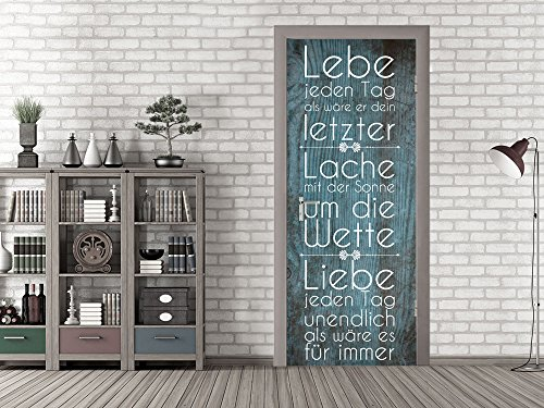 GRAZDesign 791667_101x213 Tür-Tapete Spruch Lebe Jeden Tag | Aufkleber Fürs Wohnzimmer | Tür -...