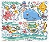 dekodino Wandtattoo Wandsticker Kinderzimmer Unterwasserwelt Sticker Aufkleber Wandtatto