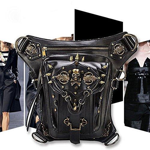 QuYing Rock Leather & Vintage Gothic Retro Steampunk Handbag Shoulder Coin Purse Skull Pocket Rivet Bag (SL001) ...