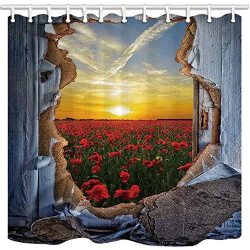 AdaCrazy Kreativität Dekor Duschvorhang Pause Throungh Wand Rose Bush Freiheit Und Romantik Inland...