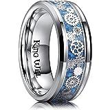 خاتم رجالي من التيتانيوم 8 مم من كينج ويل باللون الأزرق الفاتح من ألياف الكربون